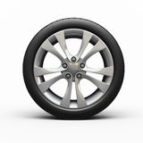 Automobile tires and wheel. (3d rendering, isolated on white and clipping path Royalty Free Stock Image