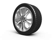 Automobile tires and wheels. (3d rendering, isolated on white and clipping path Royalty Free Stock Photos