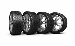 Automobile tires and wheels. (3d rendering, isolated on white and clipping path Stock Photo