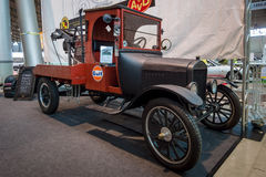 Automobile tow truck based on the Ford Model TT, 1924. STUTTGART, GERMANY - MARCH 02, 2017: Automobile tow truck based on the Ford Model TT, 1924. Europe`s Stock Photos