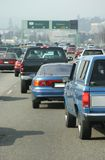 Automobile Traffic #1. A behind the wheel view of some nasty commuter traffic royalty free stock photo