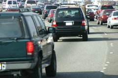 Automobile Traffic #2. A behind the wheel view of some nasty commuter traffic royalty free stock image
