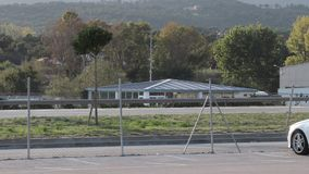 Automobile traffic on the border between France and Spain. In the commercial zone of La Junquera in Catalonia, Spain stock footage