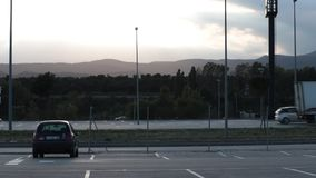 Timelapse of Automobile traffic on the border between France and Spain. Automobile traffic on the border between France and Spain in the commercial zone of La stock video footage