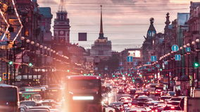 Automobile Traffic On Nevsky Prospect In St. Petersburg. View on Nevsky Prospect and Admiralty building in Saint Petersburg, Russia stock video