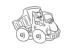 Automobile truck cat driver coloring pages Royalty Free Stock Image