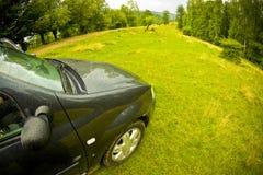 Automobile in un campo verde fotografie stock libere da diritti