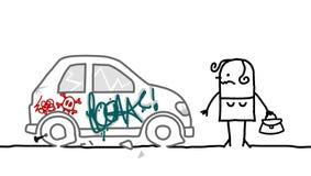 Automobile vandalizzata Immagini Stock