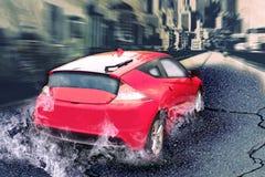 Automobile veloce con la sfuocatura di movimento Fotografia Stock
