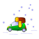 Automobile verde in cappello, illustrazione di inverno illustrazione di stock