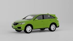 Automobile verde generica di SUV isolata su fondo bianco, vista frontale Fotografie Stock Libere da Diritti