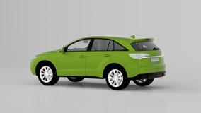 Automobile verde generica di SUV isolata su fondo bianco, vista posteriore Fotografia Stock