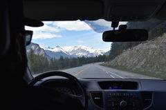 Automobile Views. A shot through the eyes of a passenger. The shot is taken to show the view while driving through the rocky mountains Royalty Free Stock Photos