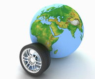 Automobile wheel and globe. 3D render Illustration Royalty Free Stock Photo