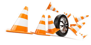 Automobile wheel has collided cones. 3d isolated Stock Photo