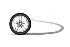 Automobile wheel leaving a trace Stock Photo