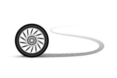 Automobile wheel leaving a trace Stock Images