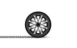 Automobile wheel leaving a trace Royalty Free Stock Photography