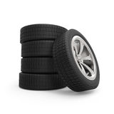 Automobile wheels stack Stock Image