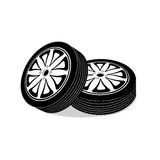 Automobile wheels on a white background Stock Photos
