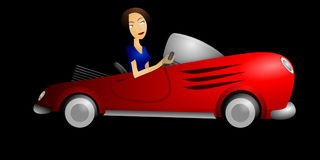Automobile, Woman, Brunette, Car Stock Photos