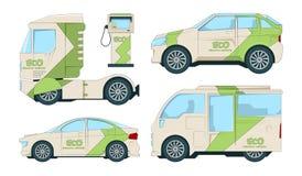Automobiles électriques d'Eco Transport écologique de bande dessinée sur le blanc illustration libre de droits