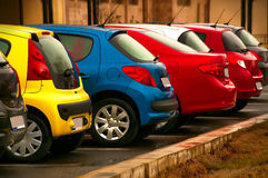 Automobiles of different colors royalty free stock photography