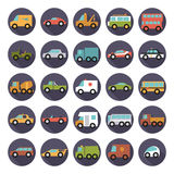 Automobiles Flat Design Round Vector Icons Collection Stock Photo