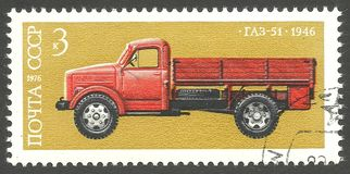 Automobiles, GAZ 51. USSR - stamp 1976, Issue Automobiles, Series History of Soviet Autoindustry, GAZ 51 Royalty Free Stock Image