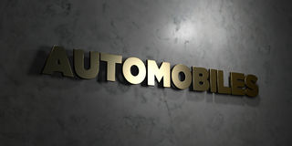Automobiles - Gold text on black background - 3D rendered royalty free stock picture. This image can be used for an online website banner ad or a print Stock Photos