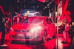 Automobiles Peugeot shop Stock Image