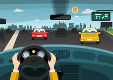 Automobiles on Street - Highway with City. On Background. Vector Car Interior with Hands on Steering Wheel vector illustration