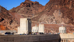 Automobiles and Tourists Move Along the Hoover Dam Stock Images