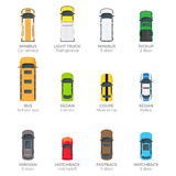 Automobiles Vector Collection with Names on White. Car service minibus, refrigerator light truck, school bus, electric sedan, coupe muscle car, sedan police Royalty Free Stock Photo