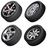 Automobiles wheels bundle Stock Photo