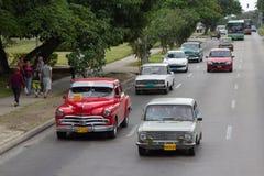 Automobili americane e sovietiche d'annata Fotografie Stock Libere da Diritti