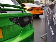 Automobili arancio verdi 2017 di audi rs7 di Gumball Fotografie Stock