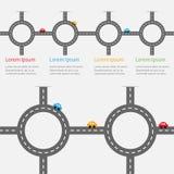 Automobili bianche della marcatura e del fumetto della strada Insieme rotondo della strada trasversale del cerchio Modello di cro Fotografia Stock Libera da Diritti