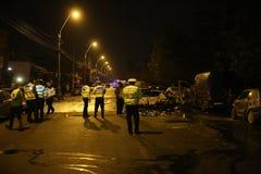 Automobili bruciate nell'incidente Fotografie Stock Libere da Diritti