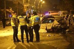 Automobili bruciate nell'incidente Fotografia Stock