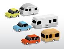 Automobili con i caravan Fotografie Stock Libere da Diritti