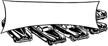 Automobili con l'insegna illustrazione di stock