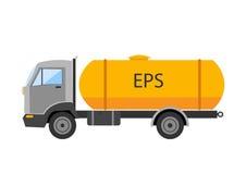 Automobili con un grande barilotto L'icona del camion del gitante del camion di capovolgimento di Autotruck ha isolato il camion  Fotografia Stock