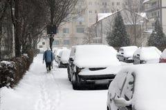 Automobili coperte di neve nell'inverno Fotografia Stock Libera da Diritti