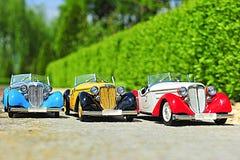 Automobili d'annata dell'automobile scoperta a due posti di Audi - modelli di scala Fotografie Stock Libere da Diritti