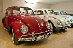 Automobili d'annata dello scarabeo di VW in un museo dell'automobile Fotografia Stock