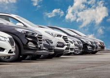Automobili da vendere la fila del lotto delle azione Fotografie Stock Libere da Diritti