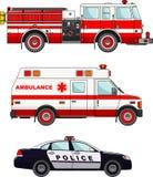 Automobili del camion dei vigili del fuoco, della polizia e dell'ambulanza sopra Fotografie Stock