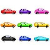 Automobili del pixel per l'insieme di vettore delle icone dei giochi Immagini Stock Libere da Diritti