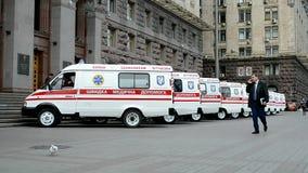 Automobili dell'ambulanza, amministrazione di stato della città di Kyiv, Ucraina, archivi video